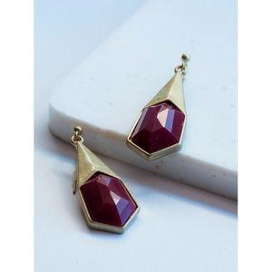 Jewelry - •||WINE||• HEXAGONAL SHAPED DROP EARRINGS